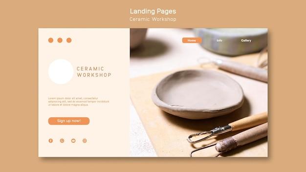 Design da página de destino da oficina de cerâmica