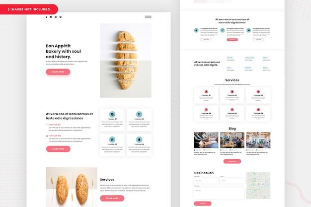 Design da página de destino da padaria