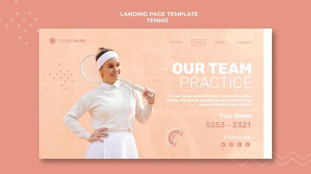 Design da página de destino da prática de tênis