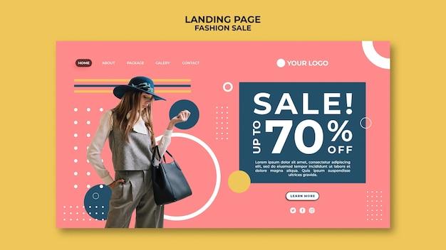 Design da página de destino da promoção de moda