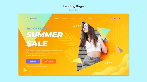 Design da página de destino da promoção de verão