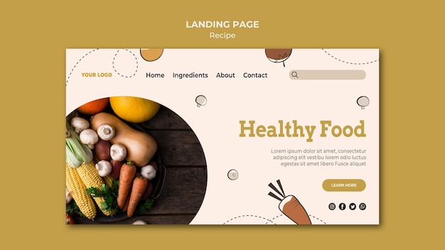 Design da página de destino da receita