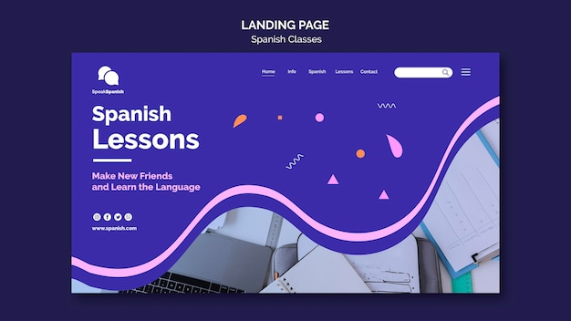 Design da página de destino das aulas de espanhol