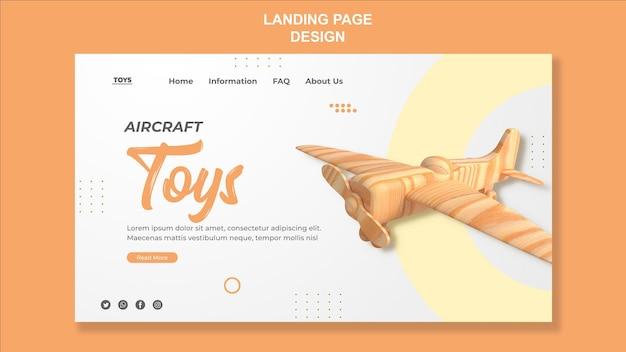 Design da página de destino de brinquedos