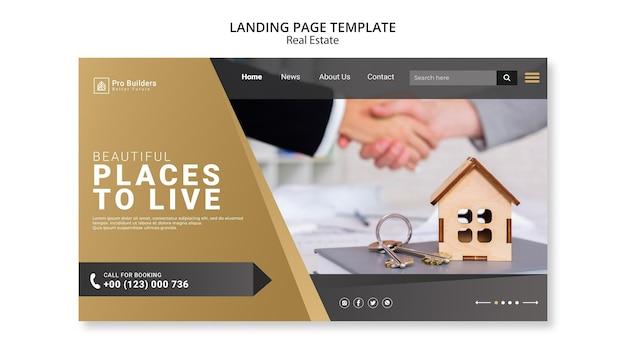 Design da página de destino de imóveis