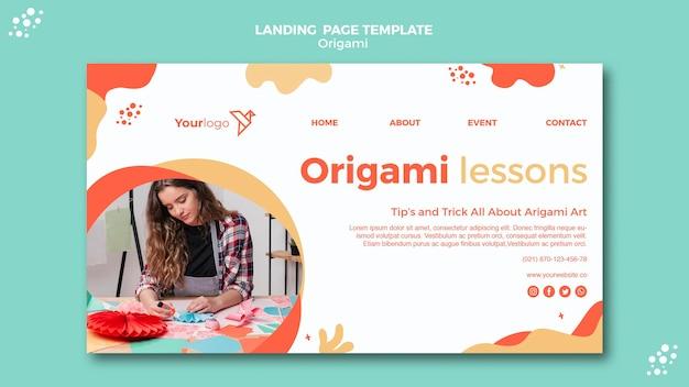 Design da página de destino de origami