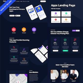 Design da página de destino do aplicativo