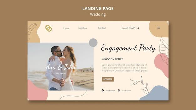 Design da página de destino do casamento