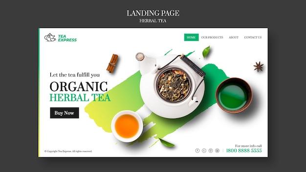 Design da página de destino do chá de ervas