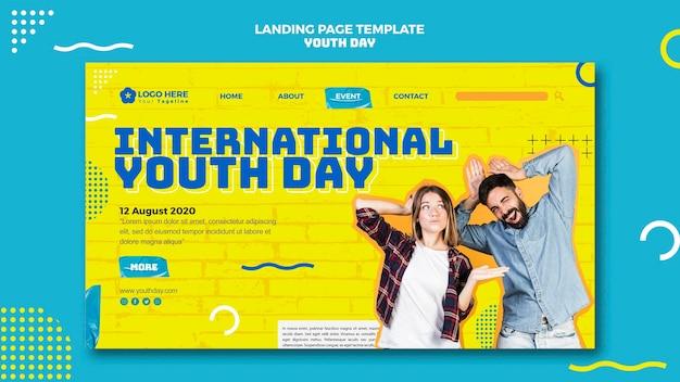 Design da página de destino do dia da juventude
