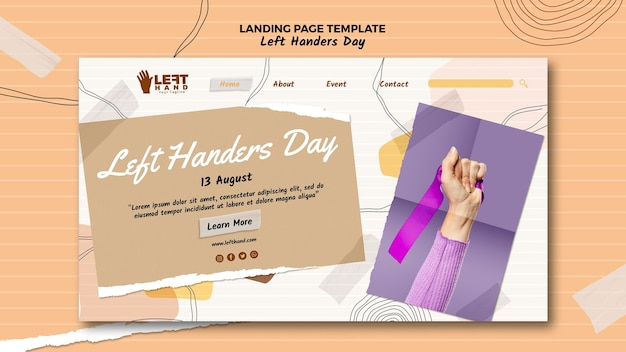 Design da página de destino do dia para canhotos