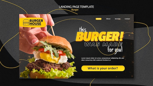 Design da página de destino do hambúrguer