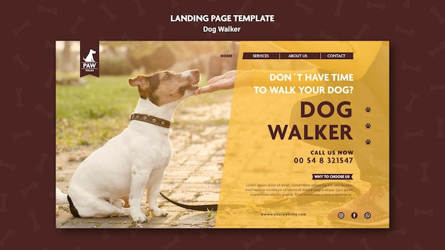 Design da página de destino do passeador de cães