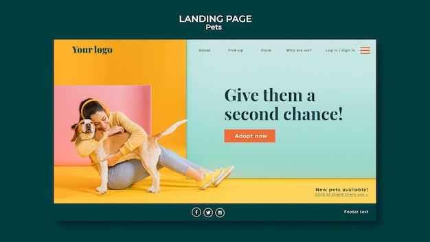 Design da página de destino para animais de estimação