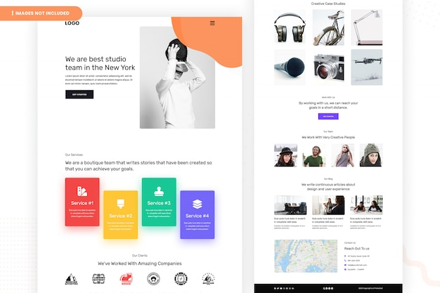 Design da página do site creative studio