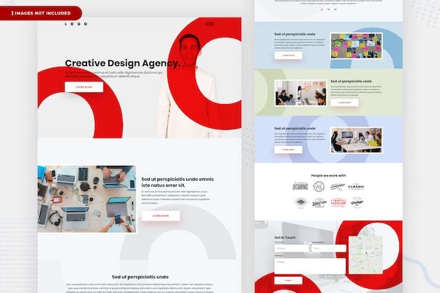 Design da página do site da agência de design criativo