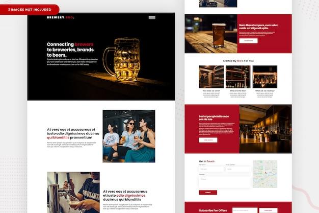 Design da página do site da cervejaria