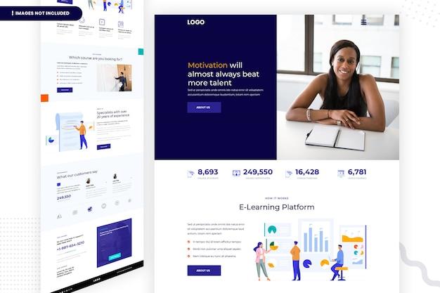 Design da página do site da plataforma de e-learning
