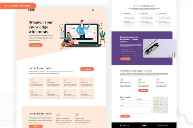 Design da página do site de educação on-line