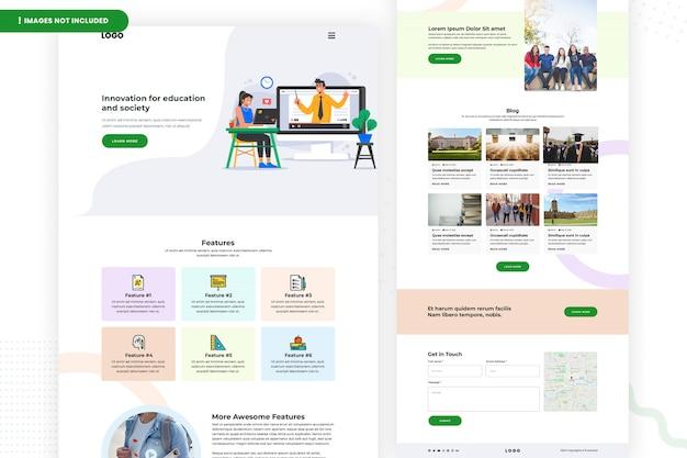 Design da página do site de educação