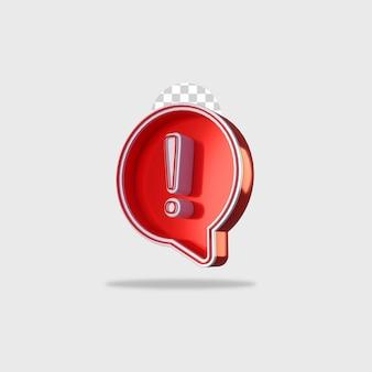 Design de alerta de ícone de renderização 3d