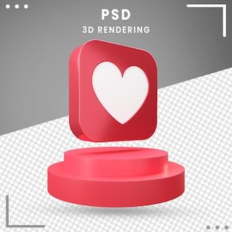 Design de amor de ícone girado 3d vermelho