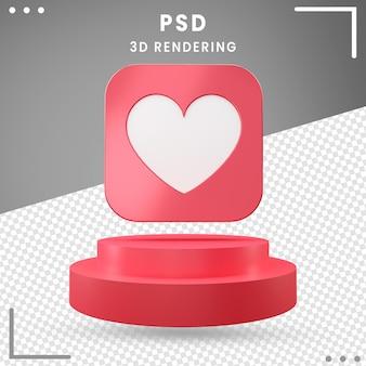 Design de amor vermelho de ícone girado 3d