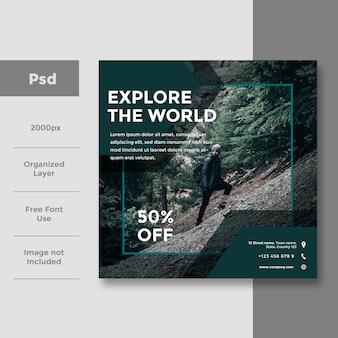 Design de anúncio de banner de mídia social de viagens sociais