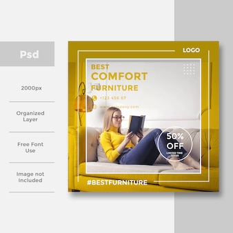 Design de anúncio de banner de mídia social interior interior