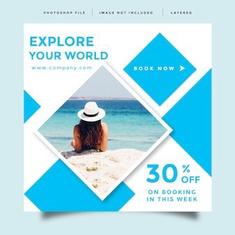 Design de anúncio de promoção de postagem de feed de mídia social de viagens