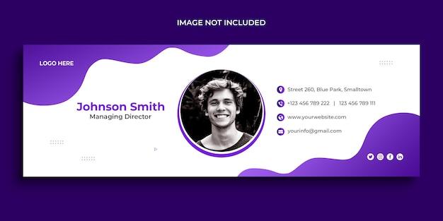 Design de assinatura de e-mail ou rodapé de e-mail e modelo de capa de mídia social pessoal