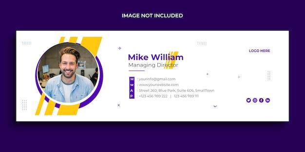 Design de assinatura de e-mail, rodapé de e-mail, modelo de capa de mídia social pessoal