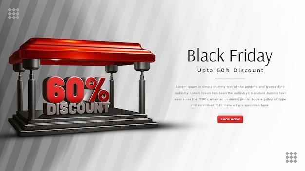 Design de banner com 60 por cento de desconto na black friday