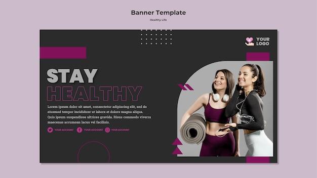 Design de banner de estilo de vida saudável