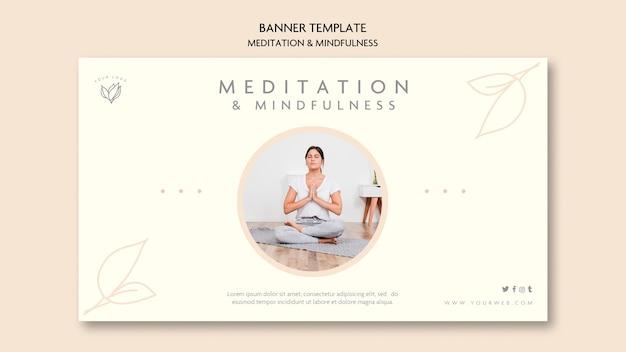 Design de banner de meditação e atenção plena