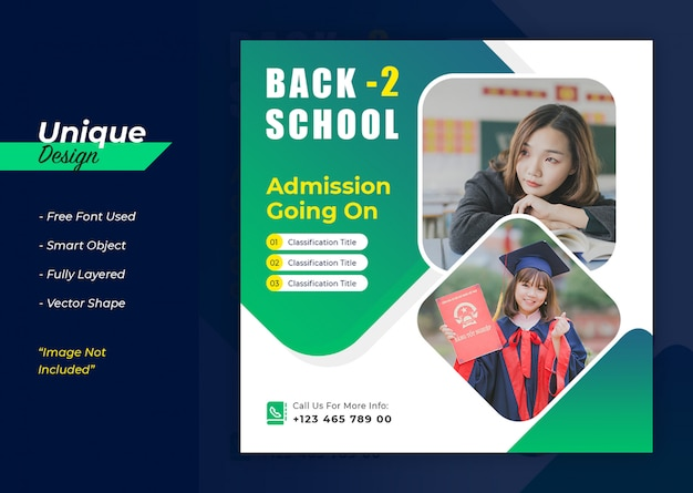 Design de banner de mídia social para admissão escolar