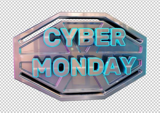 Design de banner e selo metálico da cyber monday