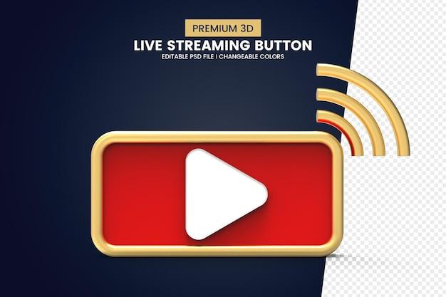 Design de botão de streaming ao vivo 3d de qualidade premium isolado