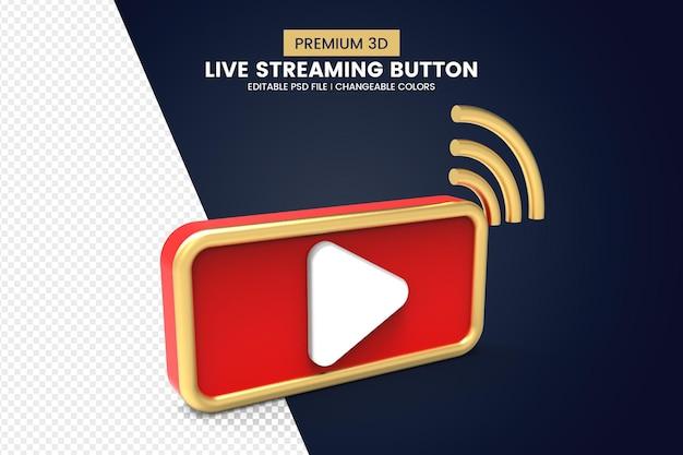 Design de botão de streaming ao vivo 3d premium