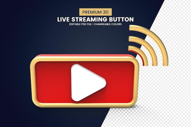 Design de botão de transmissão ao vivo 3d