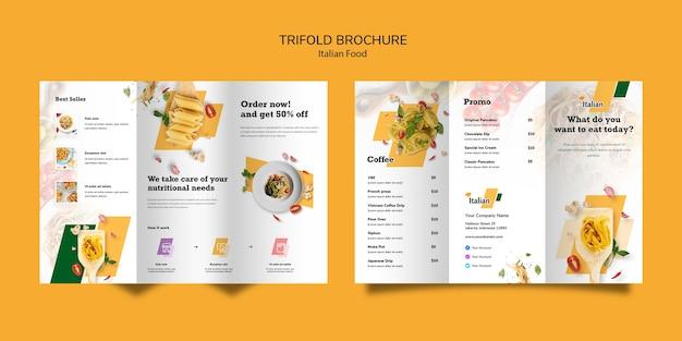 Design de brochura com três dobras de comida italiana