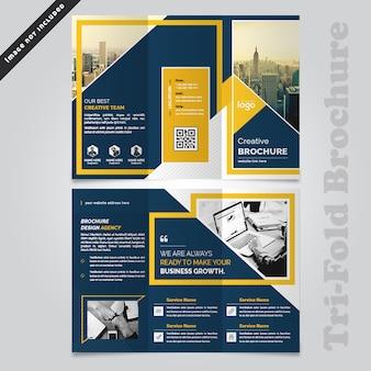 Design de brochura com três dobras de negócios abstrata