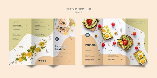 Design de brochura com três dobras para brunch saboroso
