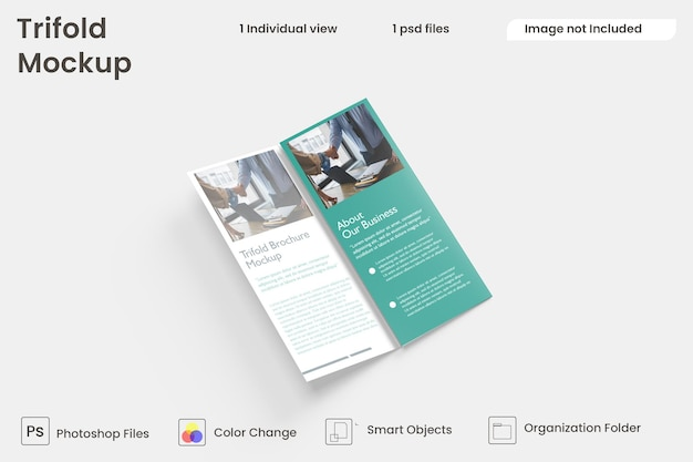 Design de brochura empresarial com três dobras premium psd