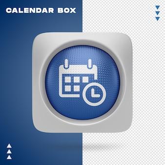 Design de caixa de calendário em renderização 3d