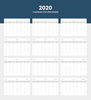 Design de calendário 2020 para interface do usuário do site