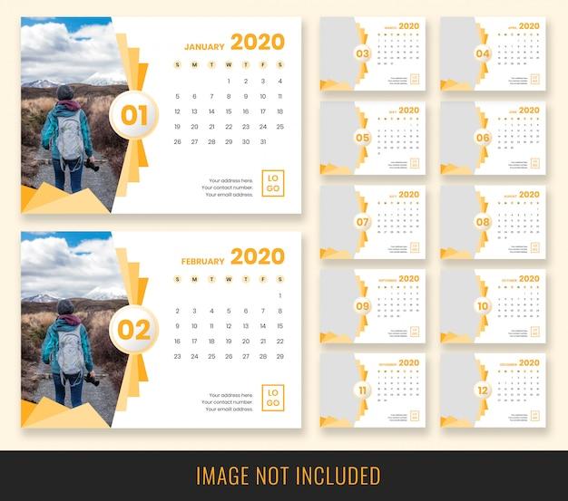 Design de calendário de mesa 2020