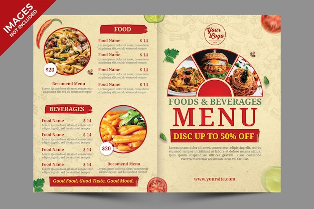 Design de capa de menu de comida vintage bifold modelo psd premium
