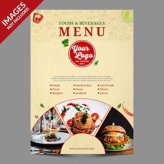 Design de capa de menu de comida vintage premium psd templat