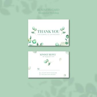 Design de cartão de visita de casamento minimalista